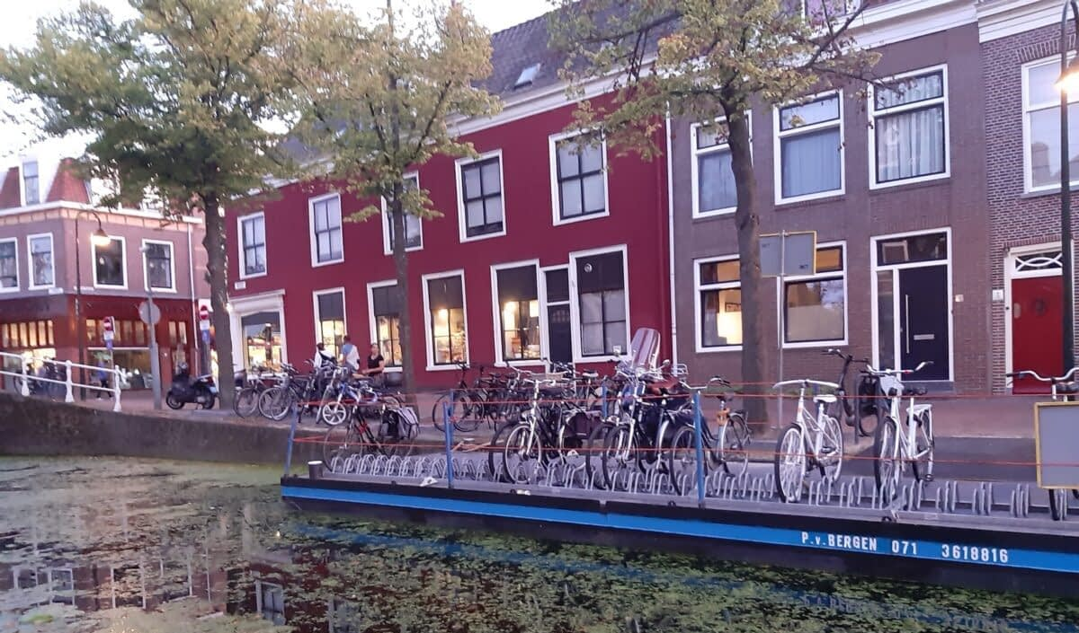 Dutch bicycle parking boat